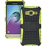 MOONCASE Galaxy J3 Hülle, Dual Layer Hybrid Silikon kratzfeste stoßdämpfende Case TPU Handyhülle Drop Resistance Tasche Schutzhülle für Samsung Galaxy J3 Grün
