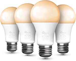 Smart Light Bulb, Dimmable Warm/Cool White LED Bulb, Works with Alexa and Google Assistant, A19 E26 9W (60W Equivalent) 800 Lumen, No Hub Required, Smart Home Lights(4 Pack)