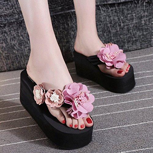 Tacón Alrededor Alto de 8cm y Clip Gruesa Sandalias Pink pies de Solapas Todo Zapatos Antideslizantes Inferior Parte de Playa pwn5R7