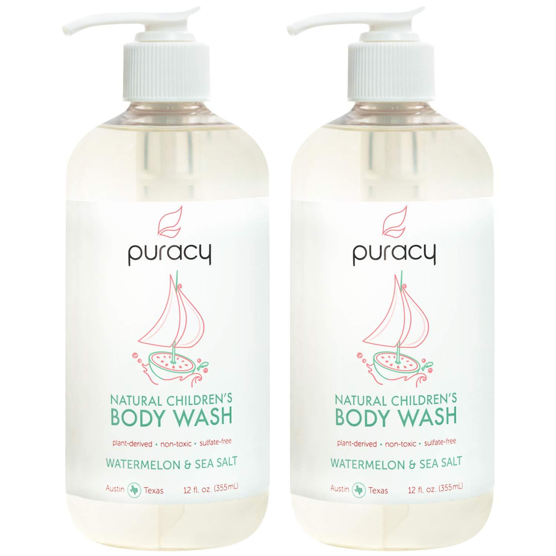 Puracy Natural Children's Body Wash, Watermelon & Sea Salt, Hypoallergenic Kid's Shower Gel, 12-Ounce (2-Pack)