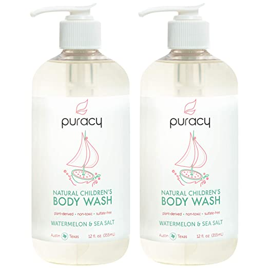 Puracy Natural Children's Body Wash, Watermelon & Sea Salt Tear-Free Kid's Soap, 12-Ounce (2-Pack)