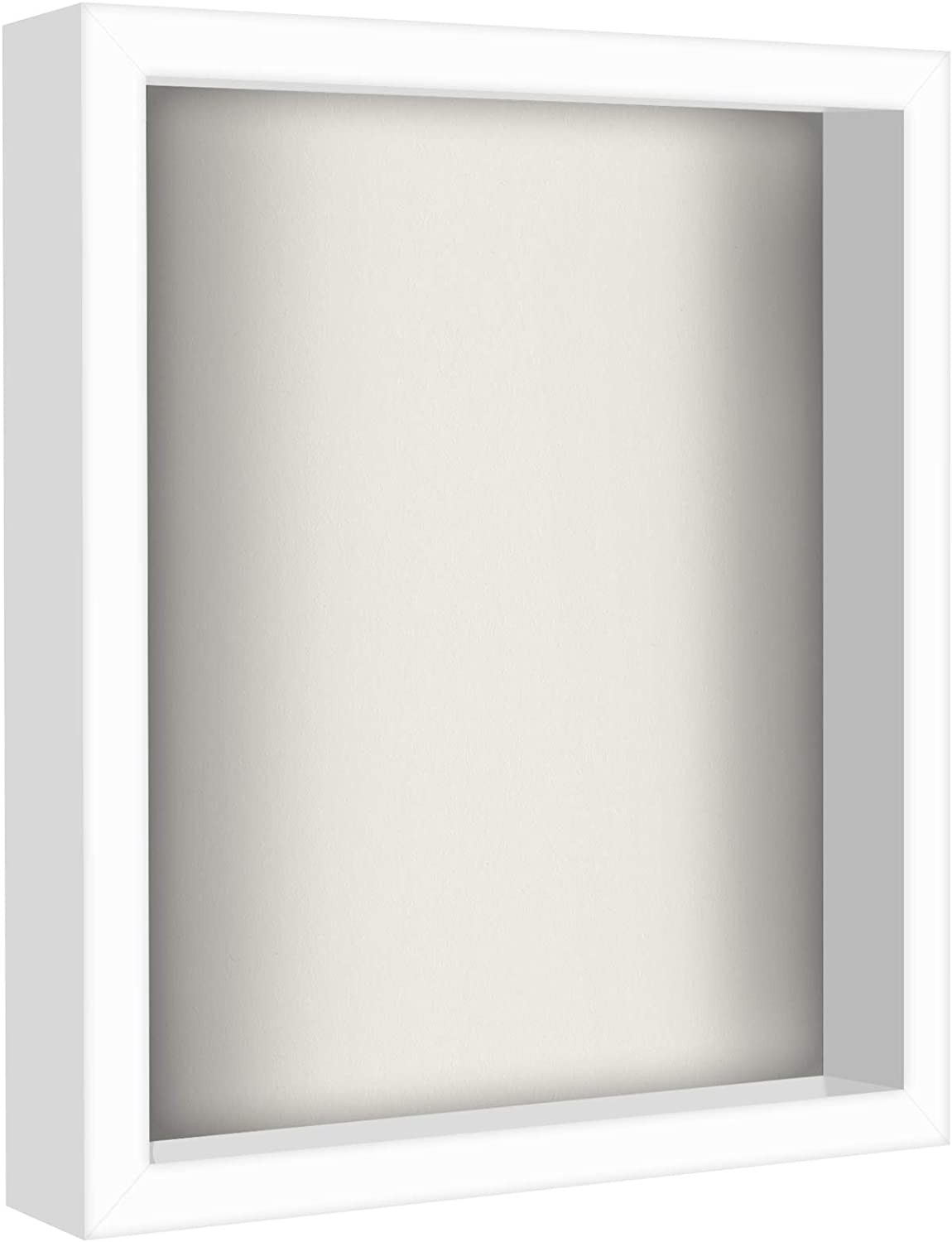 Americanflat 11x14 Shadow Box Frame in White with Soft Linen Back - Composite Wood with Shatter Resistant Glass for Wall and Tabletop