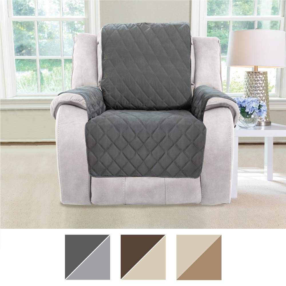 MIGHTY MONKEY Premium Reversible Couch Slipcover, Furniture Protector, 2'' Elastic Strap, Machine Washable, Cover Perfect for Kids, Dogs, Cats, Seat Width Up to 30'' (Recliner: Charcoal/Light Gray) by MIGHTY MONKEY