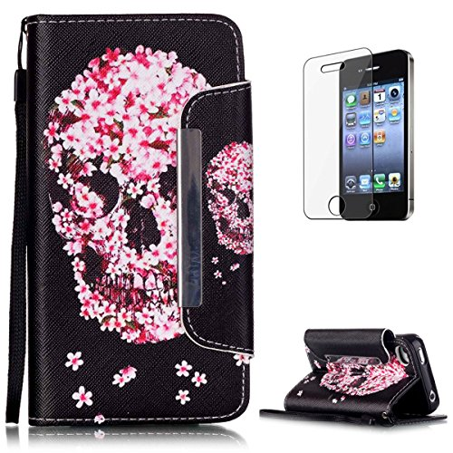 iPhone 4/4S Premium Leather Wallet Case [Free Screen Protector],KaseHom Fashion Pink Flower Skull Pattern Design Folio Flip Magnetic Shockproof Protective PU Leather Case Cover Skin Shell ()