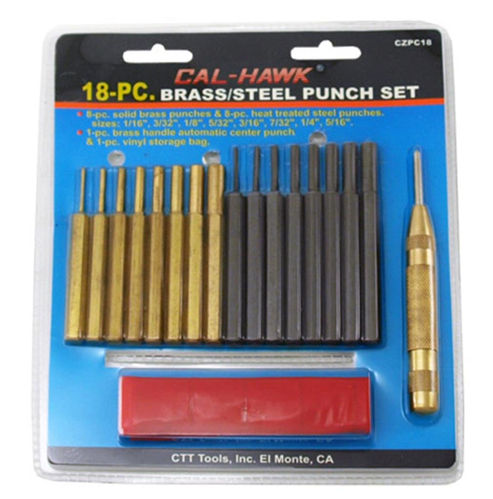 18-piece Brass and Carbon Steel Pin Punch Set W/ctr Punch