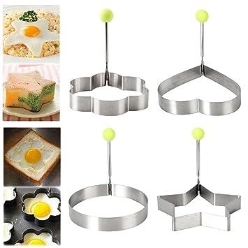 windyus huevo frito molde, 4 pcs anillos de huevo frito molde para huevos fritos sartén para crepes con handle-non Stick para plancha pan-stainless acero: ...