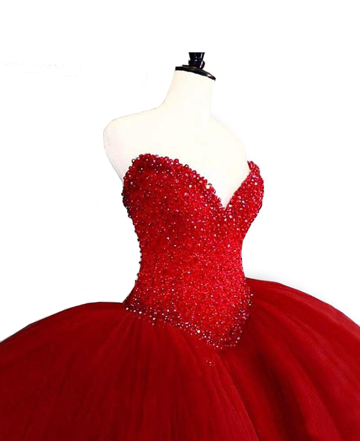 Ruisha Puffy Red Quinceanera Dresses Sweetheart Top Beading Sweet 16 Ball Gowns Birthday Party Gowns Size 10 Hot Red
