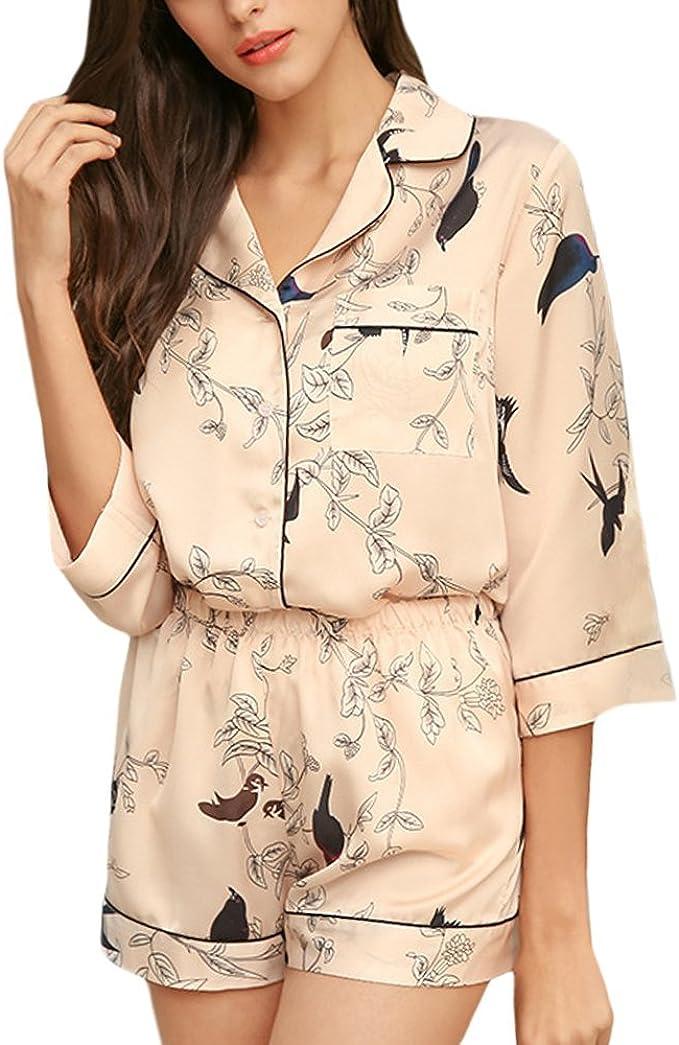 Mujer Conjunto De Pijama Estampadas Patrón Verano Pijamas ...