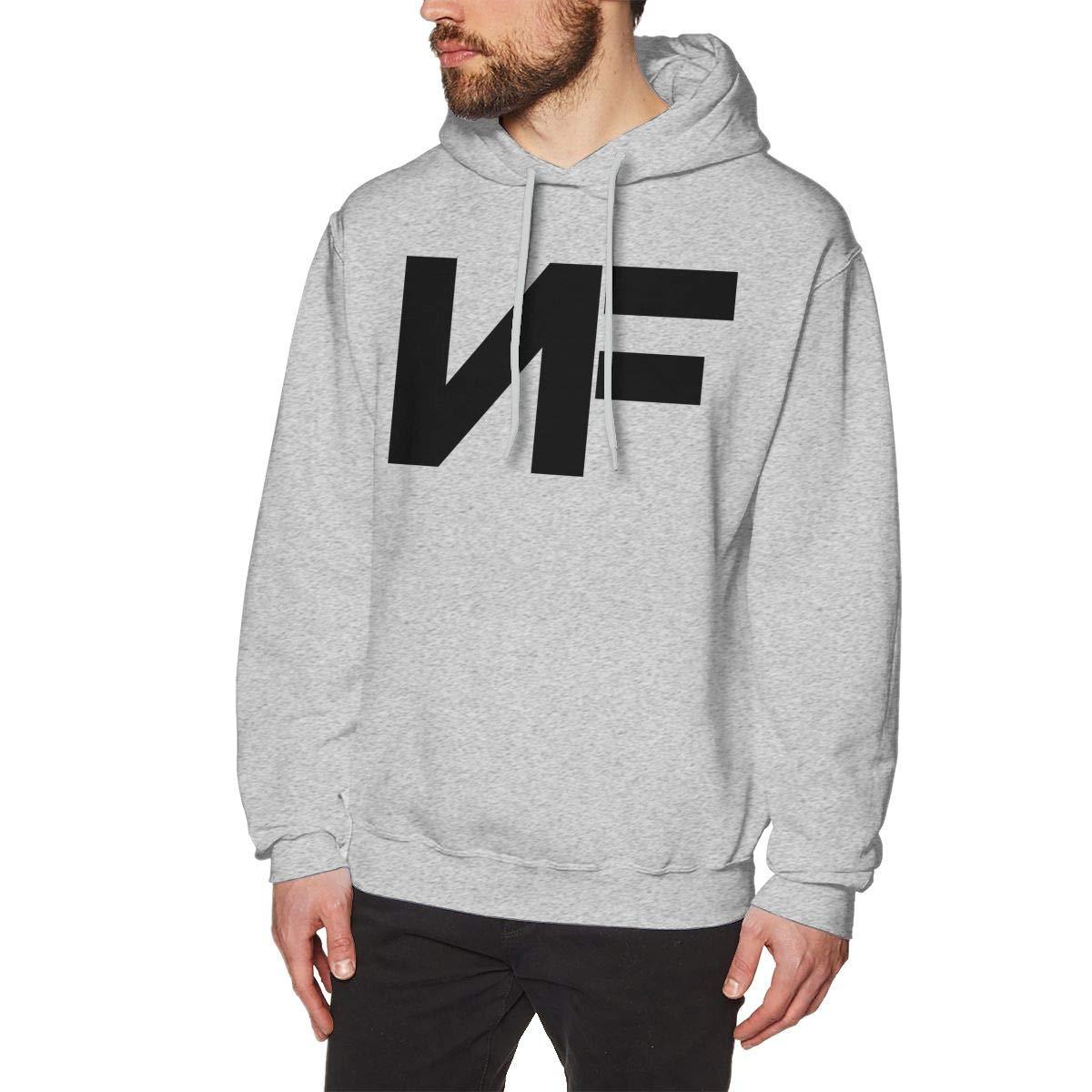Men's NF Rapper Logo-Black Logo Hoodie Custom Pullover Sweatshirt Long Sleeve Hoodies Hooded for Youth Boys Men Gray S by Cxcai