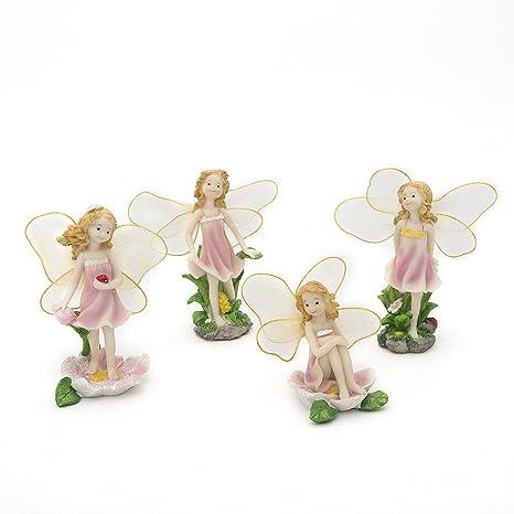 SecretRain - Set di 4 statuine ornamentali da giardino, in resina ...