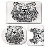 3 Piece Bath Mat Rug Set,Indie,Bathroom Non-Slip Floor Mat,Doodle-Style-Sketch-Bear-Portrait-with-Curly-Beard-and-Mustache-Cute-Cool-Animal-Decorative,Pedestal Rug + Lid Toilet Cover + Bath Mat,Black-
