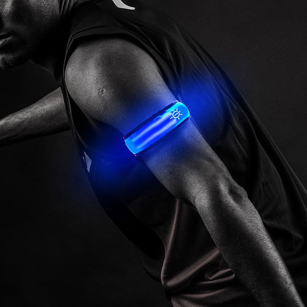 lebolikeクールLED Slap Armband反射ベルト手首/足首グローのバンドの夜の安全サイクリングジョギング – 2 pcs per Package B07568XRRW ブルー