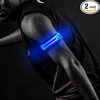 Led Safety Reflective Belt Strap Snap Wrap Arm Band Armband Running Bracelet Blue battery Not Included