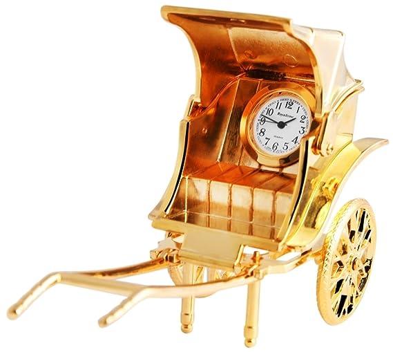 Dawn Analog Reloj en Miniatura Mesa Reloj Reloj de pie con Mecanismo de Cuarzo y 300402000027 Oro Coloreado Carcasa Diseño de diligencia 8,3 cm: Amazon.es: ...