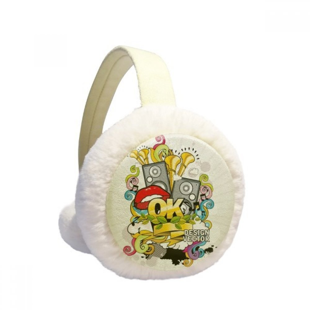 Graffiti Street Culture Colorful Mouth Stereo Winter Earmuffs Ear Warmers Faux Fur Foldable Plush Outdoor Gift