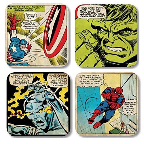 Marvel Comic - Retro Untersetzer 4er Set (Marvel Helden 3)