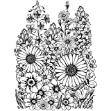 Crafty Individuals Unmounted Rubber Stamp, 4.75 by 7-Inch, A Garden of Flowers