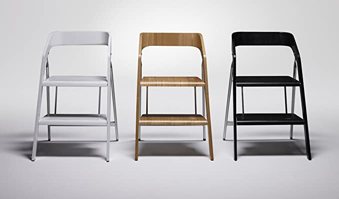 Salisiedi sgabello sedia legno 2 gradini bianco scaletta scaleo