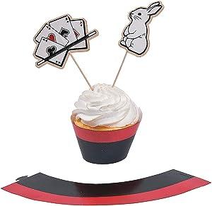 Fun Express - Magical Party Cupcake Collars W/Picks for Birthday - Party Supplies - Serveware & Barware - Picks & Stirrers & Parasols - Birthday - 100 Pieces