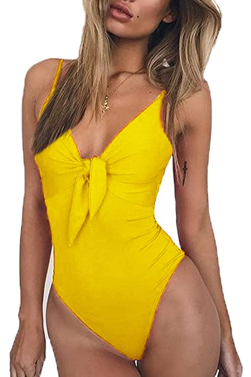 ESONLAR Woman's V Neck Halter Strap Pin Up One-Piece Bathing Suit Swimsuit Beachwear Black M