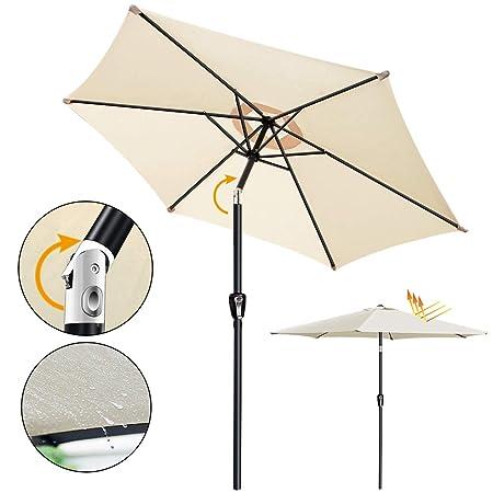 Outdoor Cantilever Shade Garden Umbrella – 9ft Polyester Shade Patio Umbrella with 360 Degree Rotation Crank Opens Closes System for Poolside, Deck, Garden, Backyard 6 Ribs, Beige