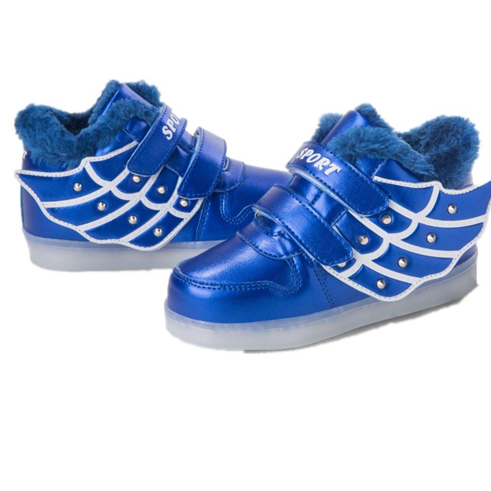 Wings Led Light Up Dance Shoes USB Luminous Fashion Sneakers for Kids Boys Girls Christmas Halloween Gift(Blue 1 13 M US Little Kid)