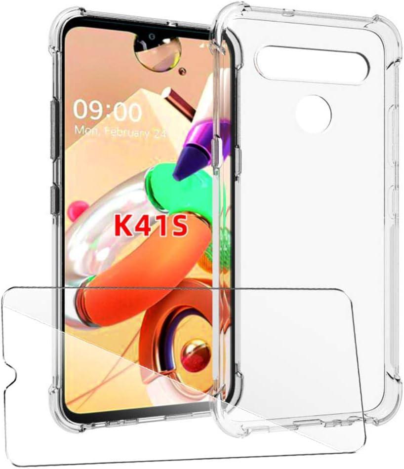 Souple Silicone Protection /Épaississement Quatre Coins Housse Bumper TPU Transparent Etui Antichoc Protector Shell Case Cover SCDMY Coque pour LG K41S Case Verre Tremp/é