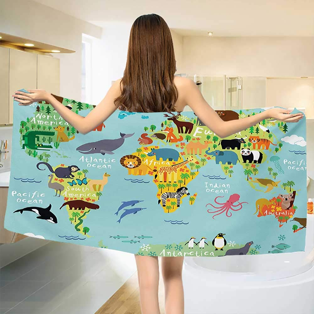 Chaneyhouse Wanderlust,Baby Bath Towel,Animal Map of The World for Children Kids Cartoon Mountains Forests,Print Wrap Towels,Pale Blue Yellow Green Size: W 10'' x L 39.5''