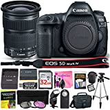 Canon EOS 5D Mark IV DSLR Full-Frame 30.4 MP Digital Camera with Built-in Wi-Fi, GPS & NFC STARTER Lens Kit with EF 24-105mm f/3.5-5.6 IS STM Lens & Deluxe Camera Works Accessory Bundle