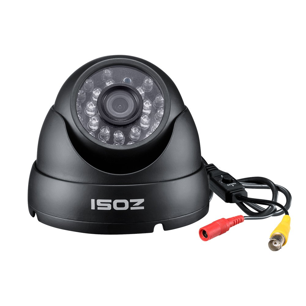 ZOSI 1.0MP HD 720p 1280TVL Dome Security Camera (Quadbrid 4-in-1 HD-CVI/TVI/AHD/960H Analog CVBS),24PCS LEDs,65ft IR Night Vision,Outdoor/Indoor Surveillance CCTV Camera by ZOSI