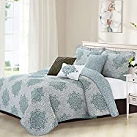 6 Piece Grey Teal Medallion Coverlet Set King Size, Gray Geometric Floral Flower Damask Motif Pattern Flowers Circle Bedding Contemporary Printed Bedroom Bedspread Reversible, Microfiber