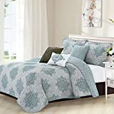 DS 6 Piece Grey Teal Medallion Coverlet Set King Size, Gray Geometric Floral Flower Damask Motif Pattern Flowers Circle Bedding Contemporary Printed Bedroom Bedspread Reversible, Microfiber
