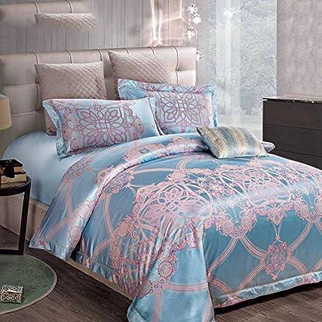 Silk Sheet Set 4 Piece Bedding Bed Sheet Set Ultra Soft Silky Hypoallergenic Luxury Printed 1 Quilt Cover 1 Sheet 2 Pillow Cases 4 Piece A Queen1