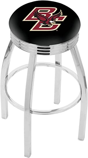 Amazon Com 25 L8c3c Chrome Boston College Swivel Bar Stool With 2 5 Ribbed Accent Ring By The Holland Bar Stool Company Sports Outdoors