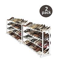 Whitmor 20-Pair Floor Zapato Soporte, Color Blanco