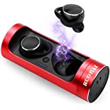 RUOBAI Bluetooth Wireless Earphones Premium Stereo Sound,Bluetooth 5.0 True Wireless Earbuds Up to 18 Hours Play Time with Portable Charging Case,Bluetooth Earbuds with Built-in Mic and Automatical Quick-Pairing Technology-Red