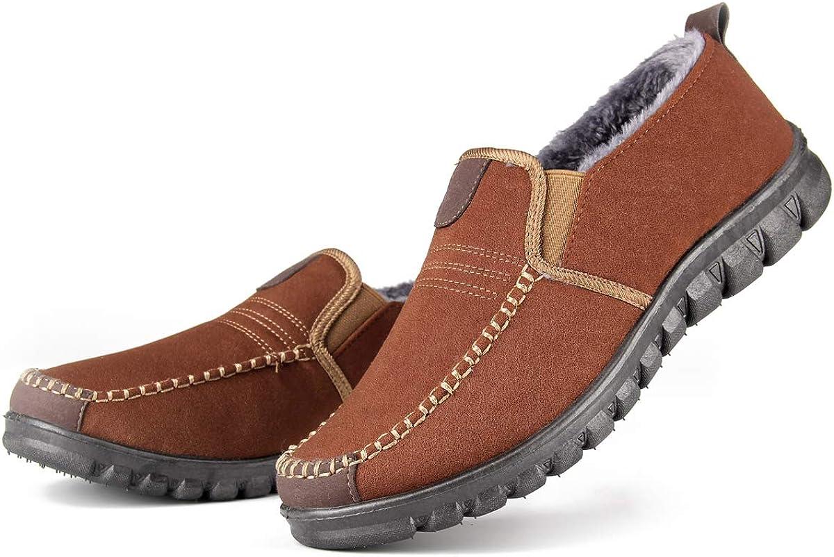 Pantoufles dint/érieur pour Hommes Mocassins antid/érapants en Peluche avanc/és Chaussures dhiver Mocassins int/érieur et ext/érieur Chaussures de Conduite
