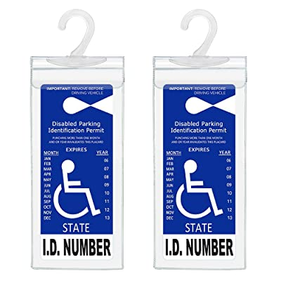 Handicap Parking Placard Holder, Ultra Transparent Disabled Parking Permit Placard Protective Holder Cover with Large Hanger by Tbuymax (Set of 2): Automotive [5Bkhe2006792]