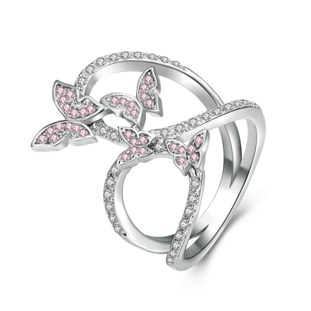 YouCY Women Girls Elegant Butterfly Ring Crystals Rings for Prom Girls Jewelry Birthday Gifts,Size 10