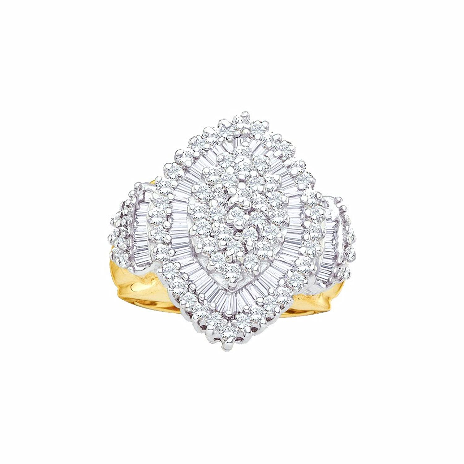10K Yellow Gold Round and Baguette Cut Diamond Cluster Ring 1 Cttw