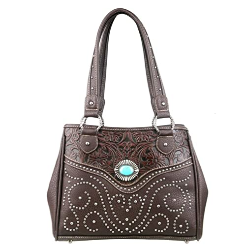 a03b3475aa3e Trinity Ranch Tooled Design & Turquoise Concho Handbag: Handbags ...