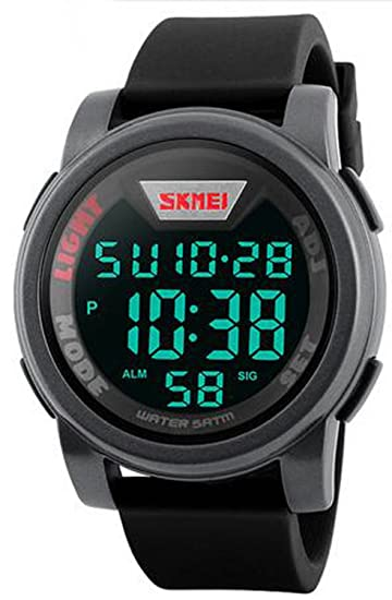 carlien Hombres Militar Deportes Relojes impermeable LED Digital reloj Big esfera correa de silicona alarma reloj de pulsera: skmei: Amazon.es: Relojes