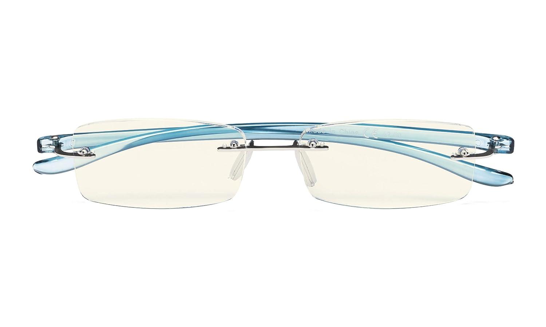 Blue Light Filter Readers Rimless Computer Reading Glasses Small Lens Women Men