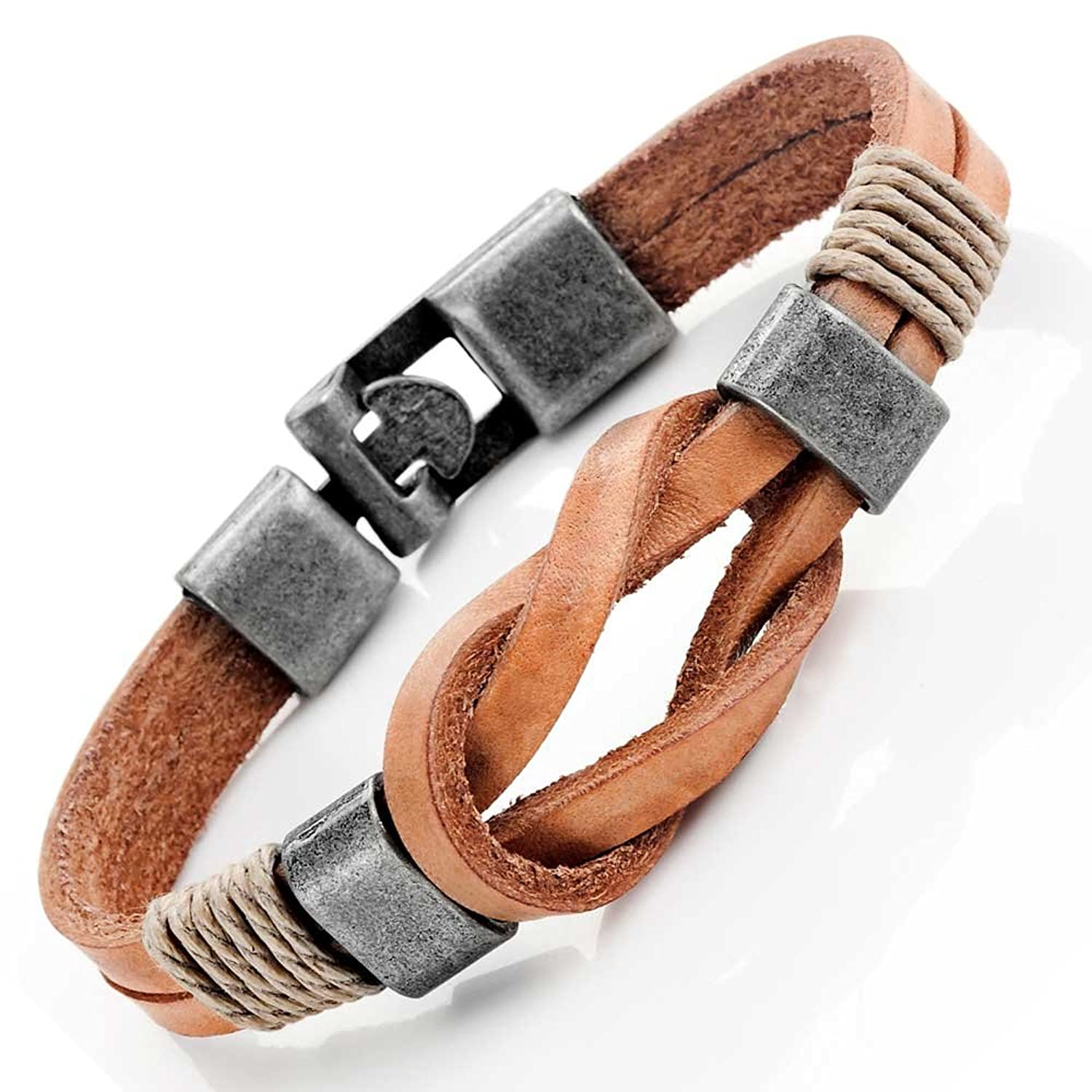 Amazon: Tan Leather Nautical Knot Bracelet For Him And Her, Unisex,  Leather, 8