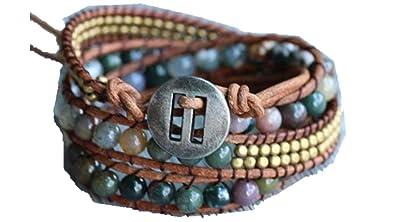 Unikooo Bracelet Wrap Energie Lumineuse avec Perles en Agate Indienne pour  Femme - Bijou à Pierre 24622c7725f