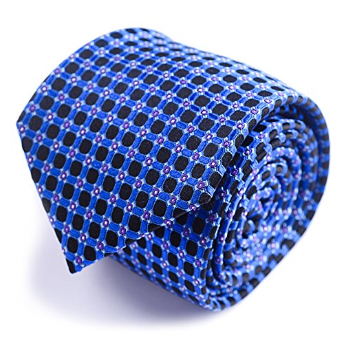 Mens Necktie Dots Black (Qobod classic ties mens silk neckties gift box blue grids black dots gingham)