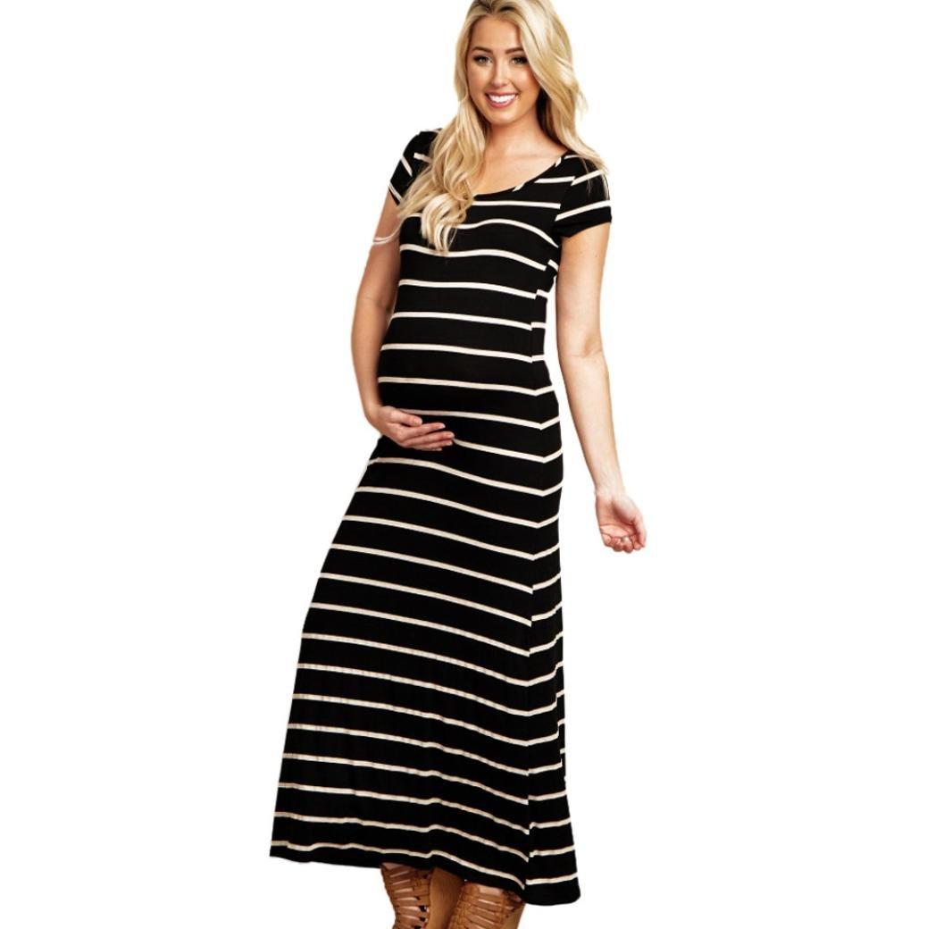 Cinnamou Vestido largo maternidad de las mujeres, Cómodo vestido sin mangas Vestido de Mujeres Embarazadas Cuello en O Vestido Maxi de Modal con Raya