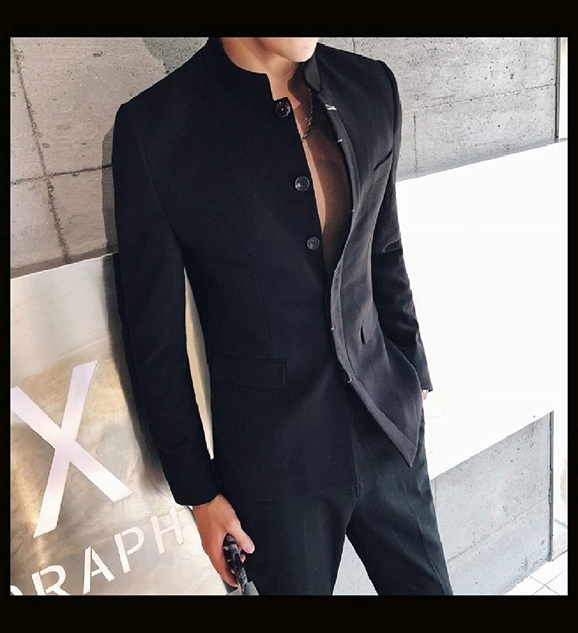 Sebaby Mens Chinese Style Mandarin Collar Blazer Business Sport Coat