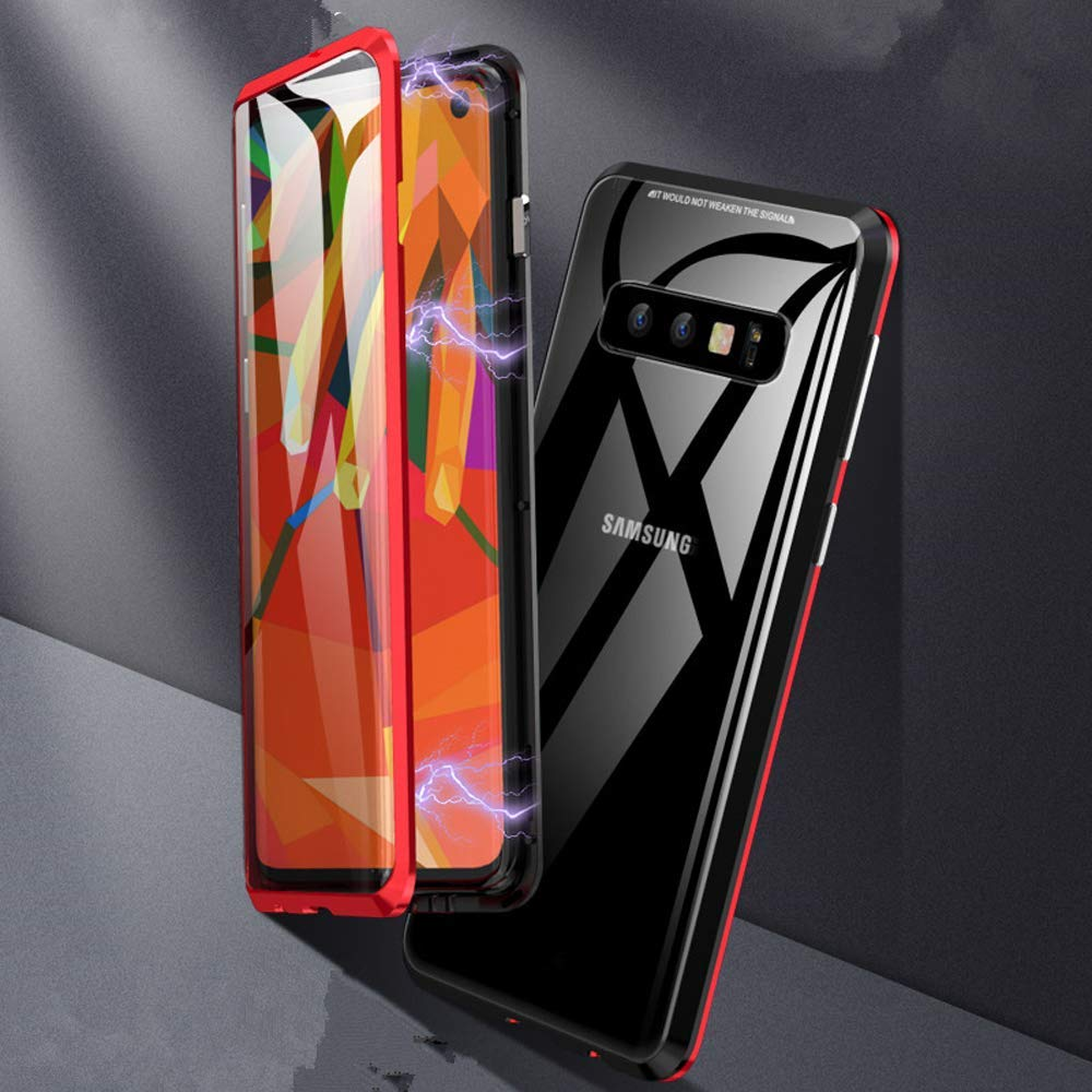 Rouge S10 Plus Etui Adsorption Magn/étique 360 Degr/és Avant et Arri/ère Verre Tremp/é Transparent Housse de Protection M/étal Frame T/él/éphone Case Clear View Cover Finemoco Coque pour Samsung Galaxy S10