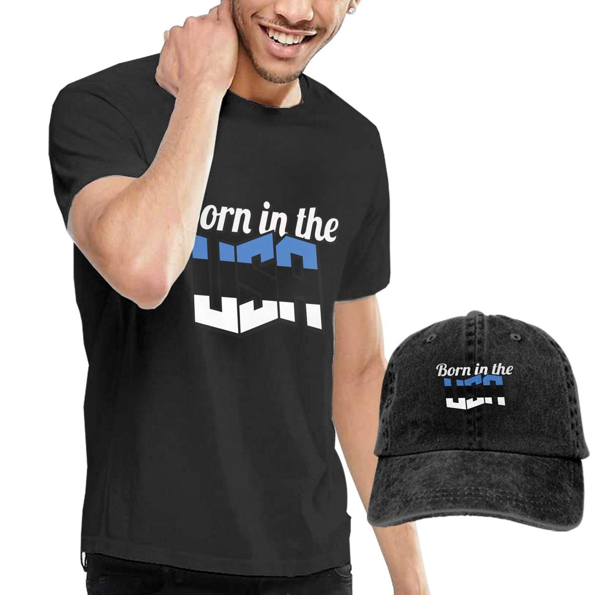 Estonian Born in The USA Adult Mens Casual T-Shirts and Fishing Jean Hat